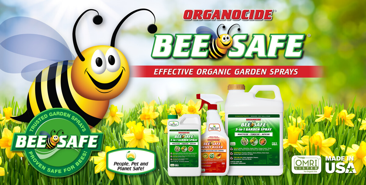 bee safe circle logo in left corner and banner logo centered top three containers of product at bottom over background of daffodils