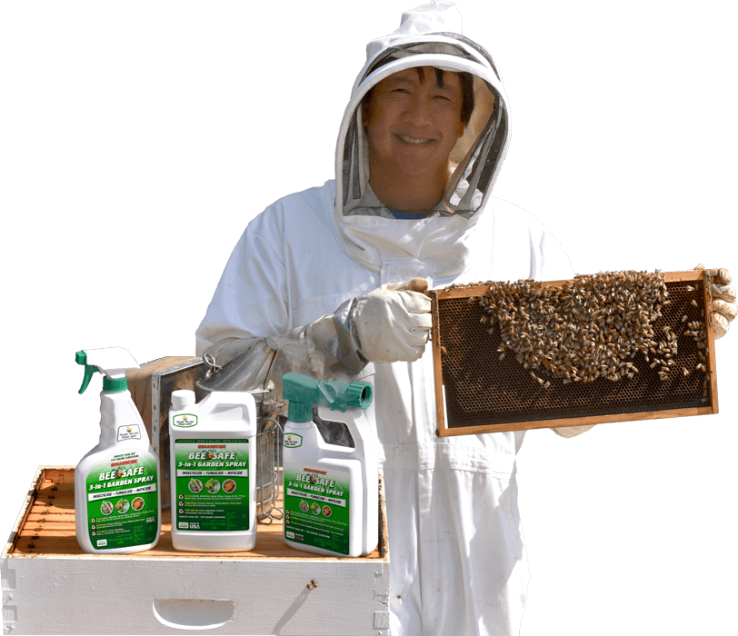beekeeper with bees and three green containers of product