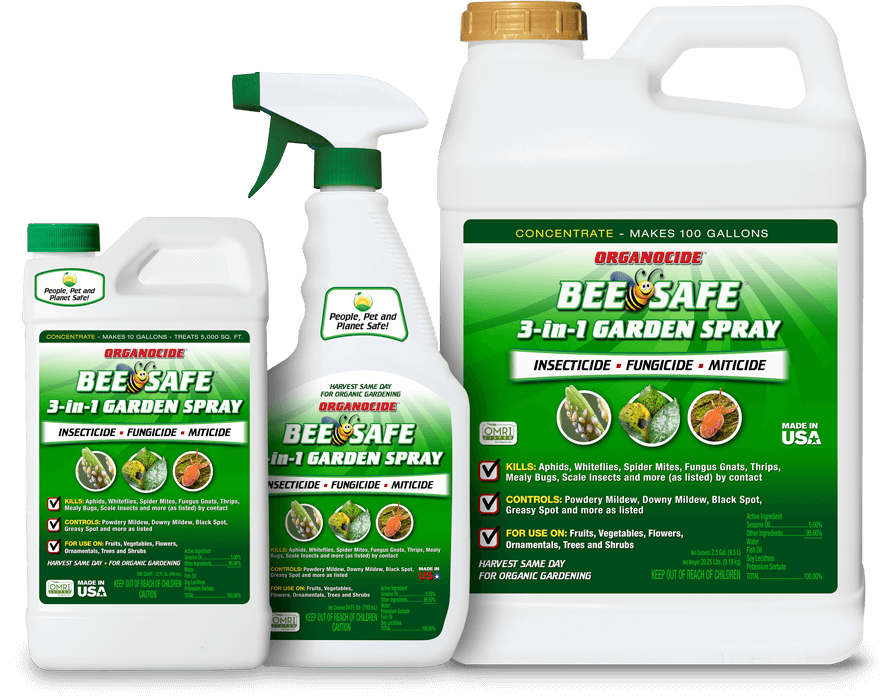 three sizes of organocide bee safe 3-in-1 garden spray