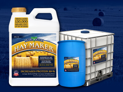 three sizes of plantdoctor haymaker product against blue backround of a field with rolls of hay