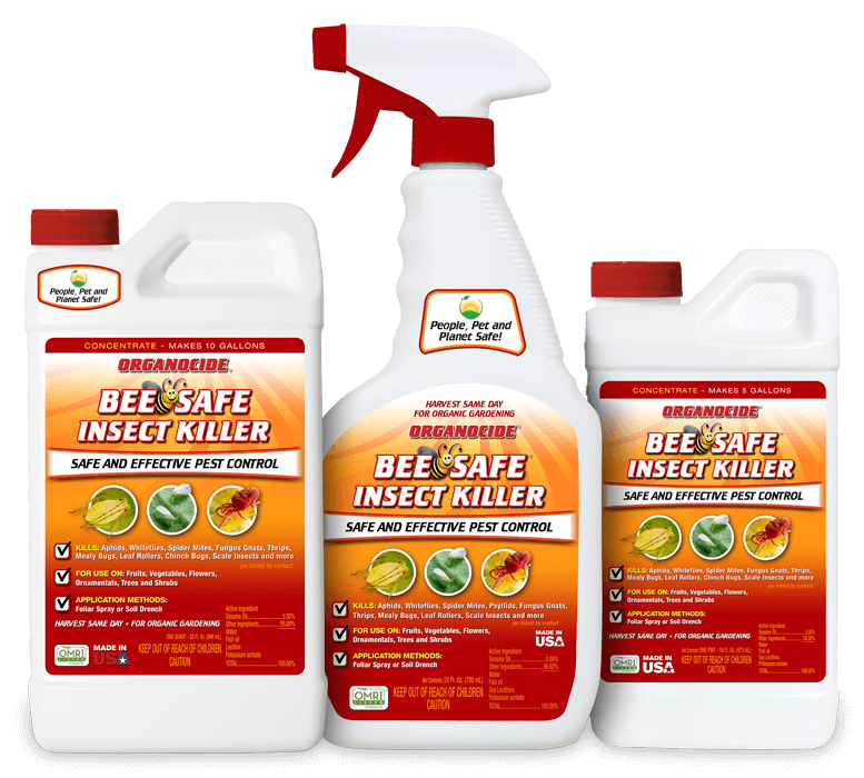 three sizes of organocide bee safe insect killer spray