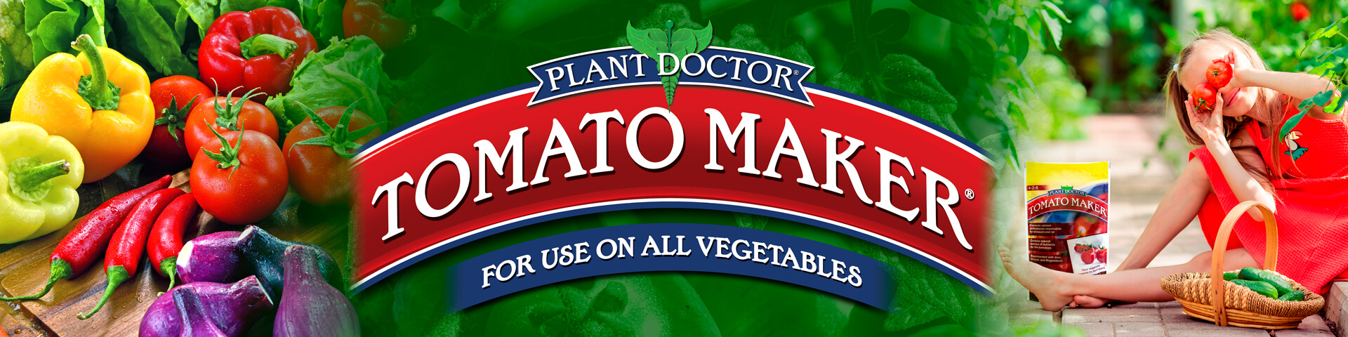 large tomato maker logo over mixed produce green tomato leaves and a young girl holding tomato with a bag of product